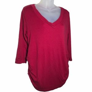 Large OH BABY BY MOTHERHOOD Red V-Neck 3/4 Sleeve
